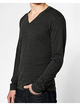 American Apparel V-Neck Tri-Blend Long Sleeve Black Top