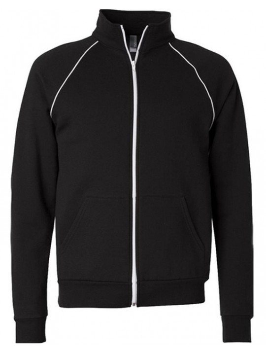 American Apparel Black Unisex Fleece Track Jacket