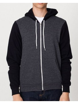 American Apparel Dark Heather Grey with Black sleeves zip Hoody