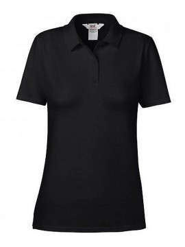 Anvil Double Pique Ladies Black Polo Shirt Top