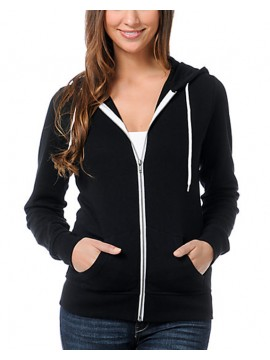 Anvil Black Ladies Full Zip Through Hooded Sweat