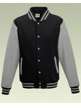 AWD Cool Jet Black Body Heather Grey Sleeve Varsity Jackets