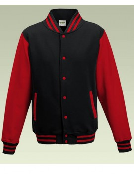 AWD Cool Black Body Red Sleeve Varsity Jackets