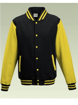 AWD Cool Jet Black Body Sun Yellow Sleeve Varsity Jackets