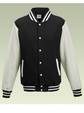 AWD Cool Jet Black Body White Sleeve Varsity Jackets