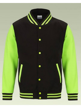 AWD Jet Black with Bright Electric Green sleeves Varsity Jackets