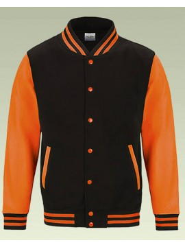 AWD Jet Black with Bright Electric Orange sleeves Varsity Jackets