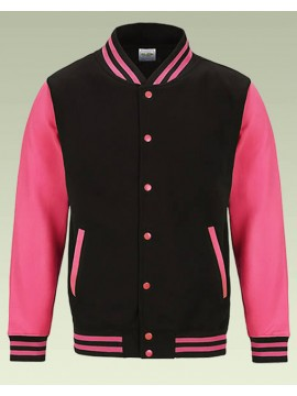 AWD Jet Black with Bright Electric Pink sleeves Varsity Jackets