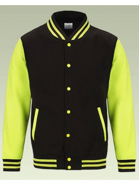 AWD Jet Black with Bright Electric Yellow sleeves Varsity Jackets