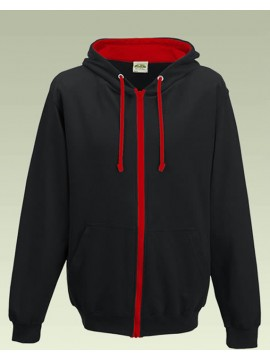 AWD Jet Black with Fire Red Contrast Varsity Full Zip Zoodie top