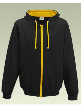 AWD Jet Black with Gold Contrast Varsity Full Zip Zoodie top