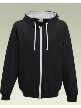 AWD Jet Black with Heather Grey Contrast Varsity Full Zip Zoodie top