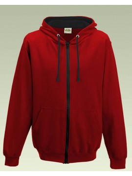 AWD Fire Red with Jet Black Contrast Varsity Full Zip Zoodie top