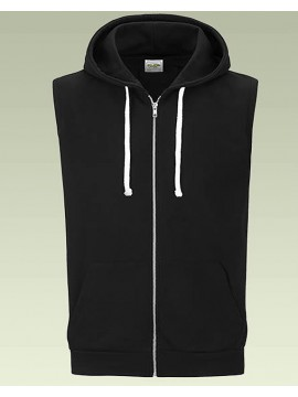 AWD Jet Black Full Zip Fitted Sleeveless Zoodie