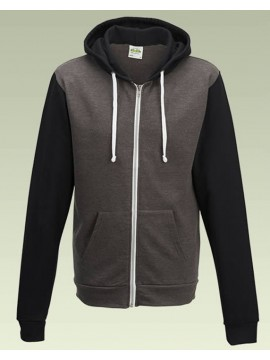 AWD Charcoal Grey Jet Black Slim fit Retro Full Zip Zoodie