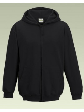 AWD Childrens Plain Jet Black Full Zip Zoodie