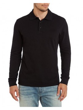 B&C Collection Black Cotton Long Sleeve Polo Shirt