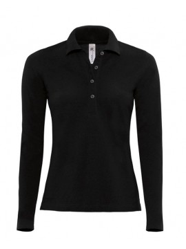 B&C Collection Womens Long Sleeved Buttoned Black Polo