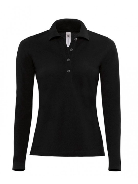 B C Collection Womens Long Sleeved Buttoned Black Polo