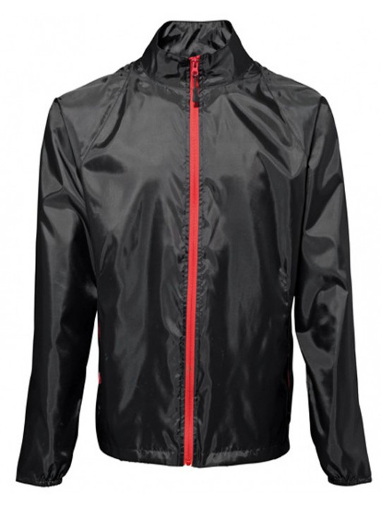 2786 Trendy cool Black Contrast RED zip lightweight Jacket