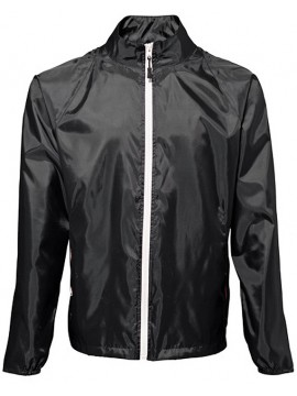2786 Trendy cool Black Contrast White zip lightweight Jacket