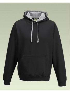 AWD Black with Heather Grey Hood Pullover Hoodie Top