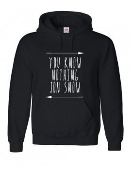 """You know Nothing Jon Snow"" Printed on Black Hoodie Top"