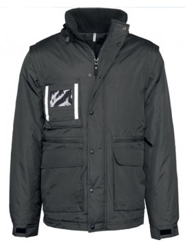 Kariban Workwear Detachable Sleeve Parka Black Zip Jacket