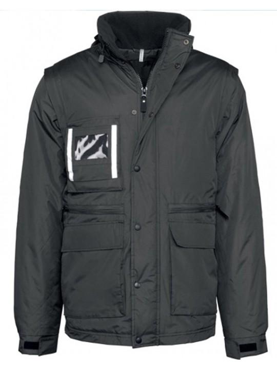 Kariban Workwear Detachable Sleeve Parka Black Zip Jacket