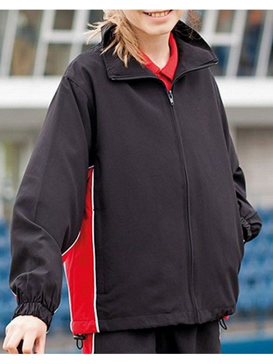 Finden Hales Kids black with red piped Track Jacket Top