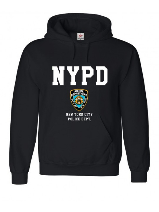 """NYPD"" Printed Text & Logo Hooded Sweat In Black"