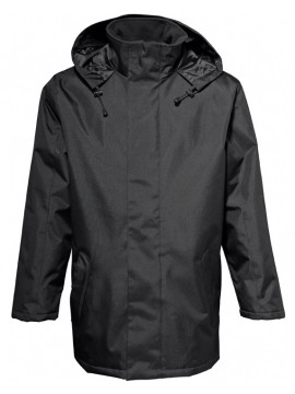 2786 Black Ployester Jacket long Length Parka