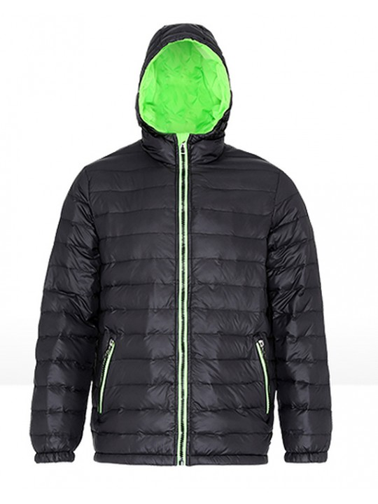 2786 Unisex Padded Black & Lime Green Jacket