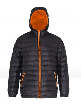 2786 Unisex Padded Black & orange zip Jacket