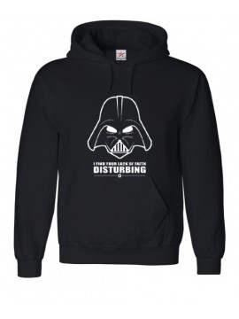 "Black Top With Retro Darth ""I find your lack of faith DISTURBING"" Print Hoody"