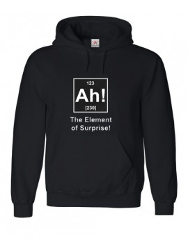 "Funny ""Ah! The Element Of Surprise"" Writing on Black Hoodie"