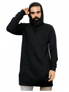 Black Long Length Pullover Hooded Top