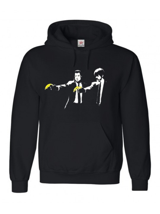 Pulp Fiction With Banana Gun Logo On Black Hoodie