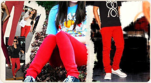 retro red skinny jeans